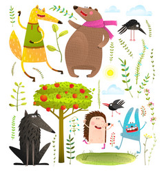 Wild funny forest objects and animals set vector