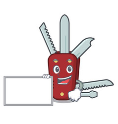 With board penknife isolated with in mascot vector