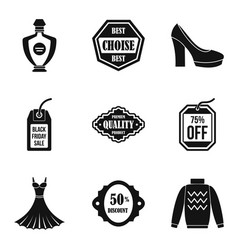 Woman hall icons set simple style vector