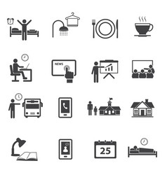 business time and daily routine icon set vector image vector image
