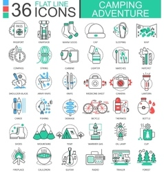 Camping adventure flat line outline icons vector image