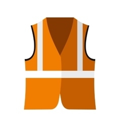 Orange safety vest icon flat style vector image