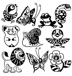set of black white animals for children vector image