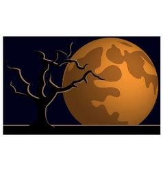 Wallpaper halloween moon tree vector image