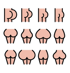different bum sizes icons - large flat big smal vector image