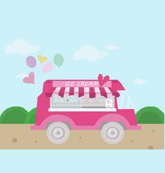 ice cream bus flat style vector image