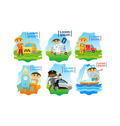 kids trying different professions set small boys vector image