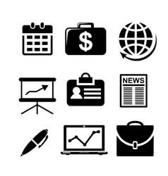 Set of black and white business icons vector image vector image