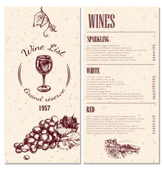 wine menu design vector image