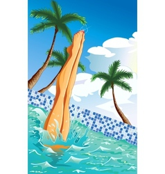 At the pool vector image vector image