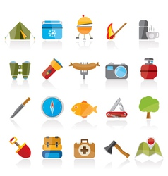 Camping travel and Tourism icons vector image vector image