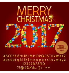 Colorful Merry Christmas 2017 greeting card vector image