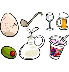 food objects cartoon set vector image vector image