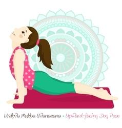 girl in urdhva mukha svanasana with mandala vector image
