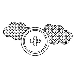 grayscale figures clouds and sun icon vector image