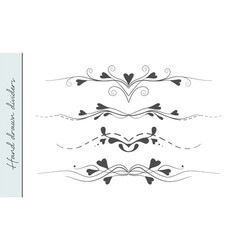 hand drawn flourishes text divider graphic design vector image