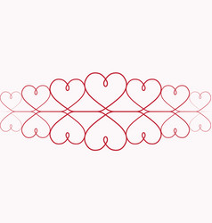 hearts for valentines day one line drawing vector image vector image