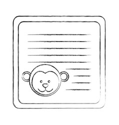 monochrome blurred card with male monkey head vector image vector image