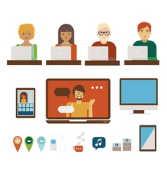 People and computers set vector