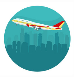 airplane above the cityscape vector image vector image