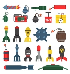 Bomb and rockets set vector image vector image