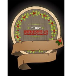 Christmas wooden border and banner vector image vector image