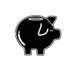 contour pig icon save money currency vector image vector image