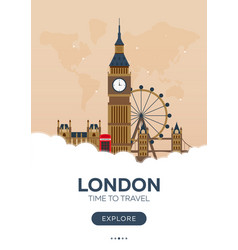 england london time to travel travel poster vector image