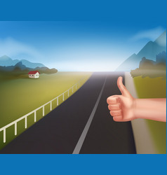 hand of hitchhiking vector image vector image