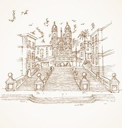 piazza di spagna in rome hand draw vector image
