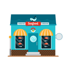 seafood restaurant front vector image