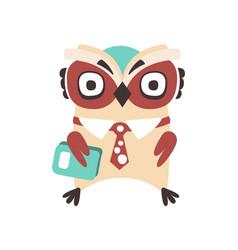 smart cartoon owl bird colorful character vector image vector image
