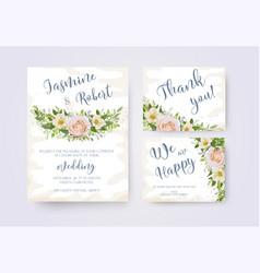 wedding invitation invite flower invite thank you vector image