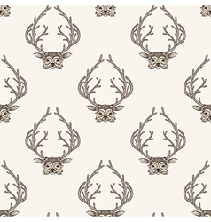 Zentangle stylized deer seamless pattern hand vector