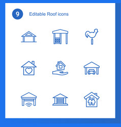 9 roof icons vector