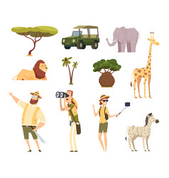 african safari wildlife animals travel car kenya vector image
