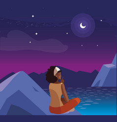 Afro woman contemplating horizon in mountains at vector