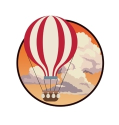 Airballoon fly sky sunset clouds label design vector