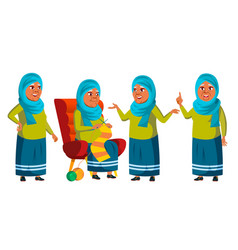 arab muslim old woman poses set elderly vector image