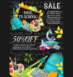 Back to school autumn sale sketch poster vector