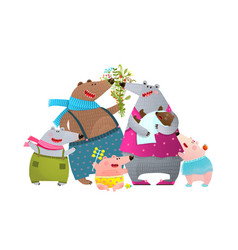 Bear family father mother kids and newborn baby vector