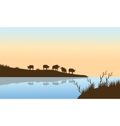 Bison Sunrise on the river vector