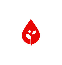 blood drop leaf sprout logo icon vector image