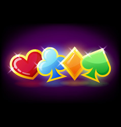 bright colorful poker symbols - hearts clubs vector image