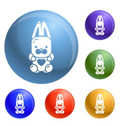candy rabbit icons set vector image
