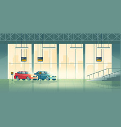 car dealer salon showroom interior cartoon vector image