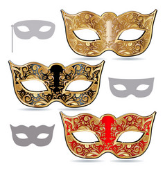 Carnival masks gold red and black mask decorated vector