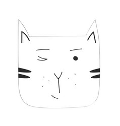 Cartoon black cat isolated on blank space vector