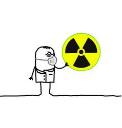 Cartoon scientist with mask radioactivity vector