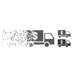 Cash delivery fractured pixel halftone icon vector